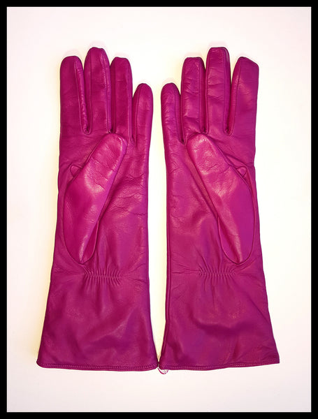 Fuchsia Fancy Portolano Leather Gloves Size 8