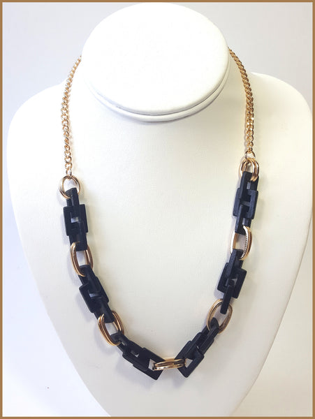 Gold Tone & Black Wood Necklace