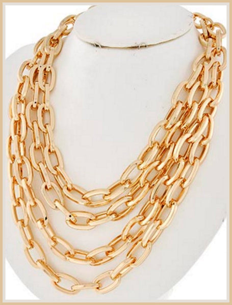 Gold, Multi-Strand, Link Necklace