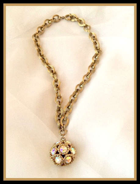 Gold & Rhinestone Ball Necklace
