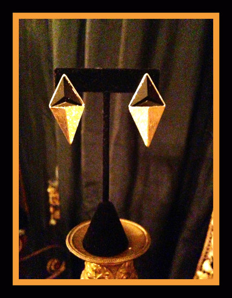 Black & Gold Triangle Earrings