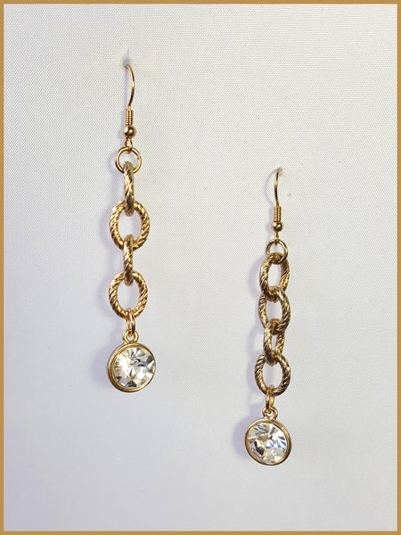 Brushed Gold Chain Link & Crystal Drop Earrings