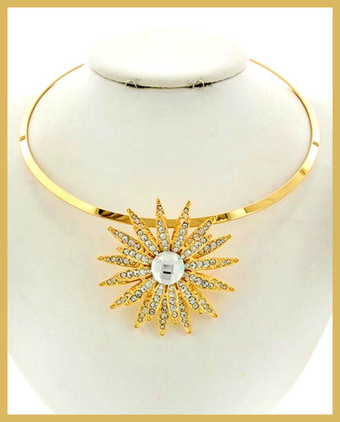 Gold, Glass & Rhinestone Flower Choker Necklace