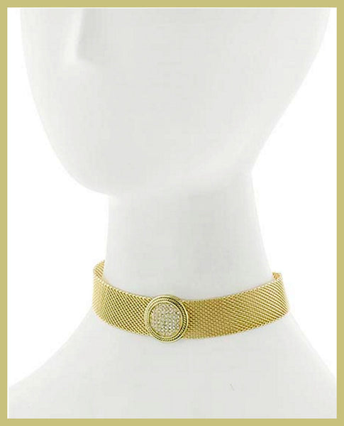 Antique Gold, Cubic Zirconia, Choker Style Necklace