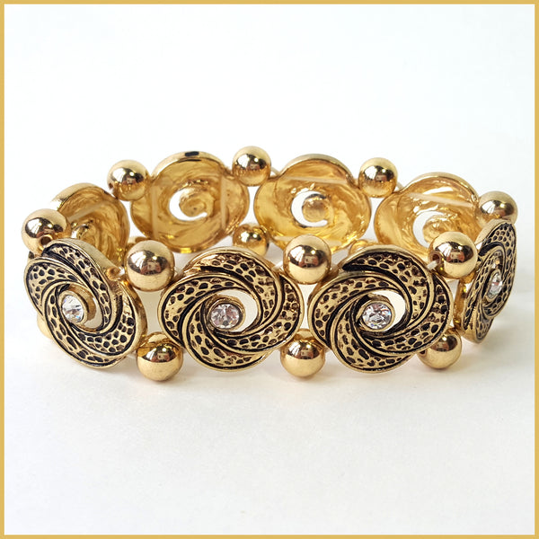 Antique Gold & Rhinestone Bracelet