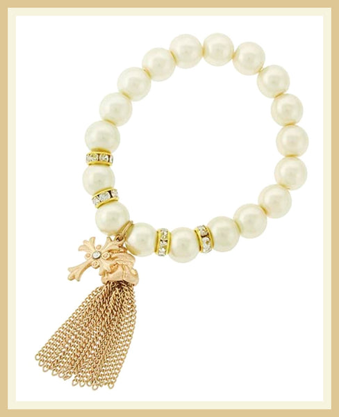 Gold/Pearl Cross Bracelet