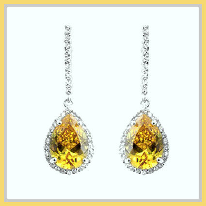 Canary Cubic Zirconia Teardrop Earrings
