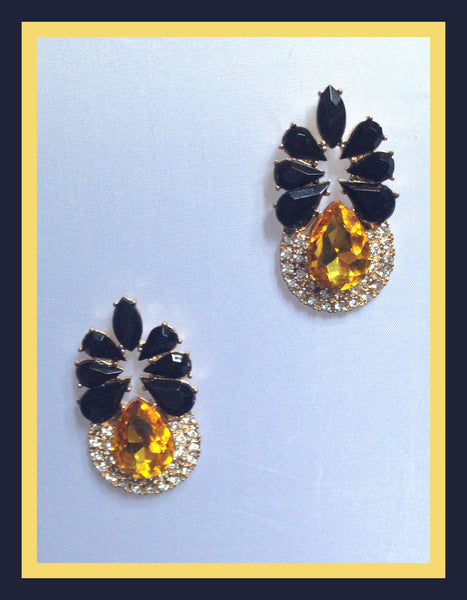 Gold, Black & Crystal Earrings