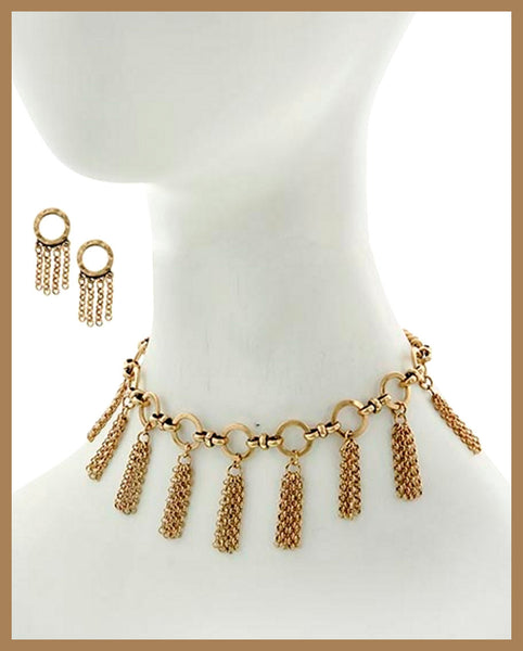 Burnished Gold, Choker Style Necklace & Earring Set