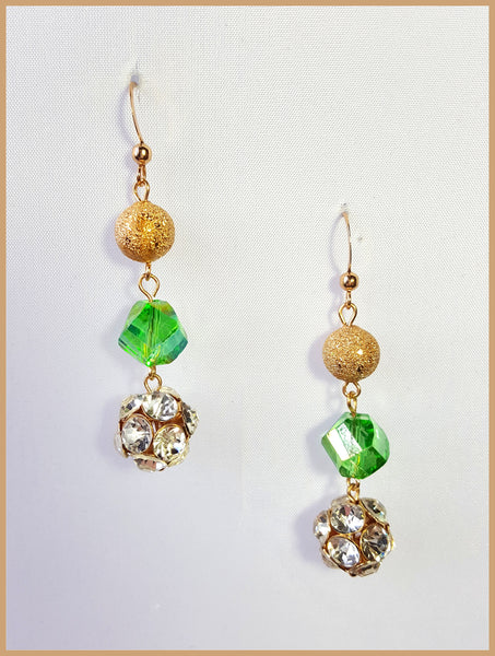 Gold Sparkle/Green Stone/Crystal Drop Earrings