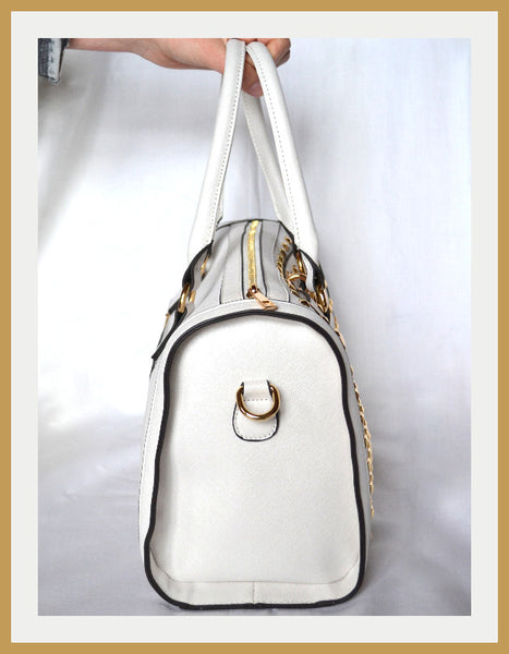 White Satchel with Metal Studs