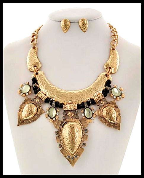 Antique Gold/Black Metal Necklace & Earring Set
