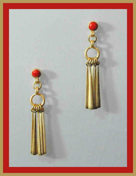 Gold & Red Earrings