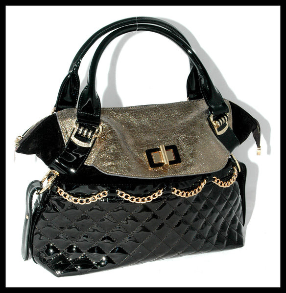 Black Quilted Patent & Gold Lamé Flap Handbag