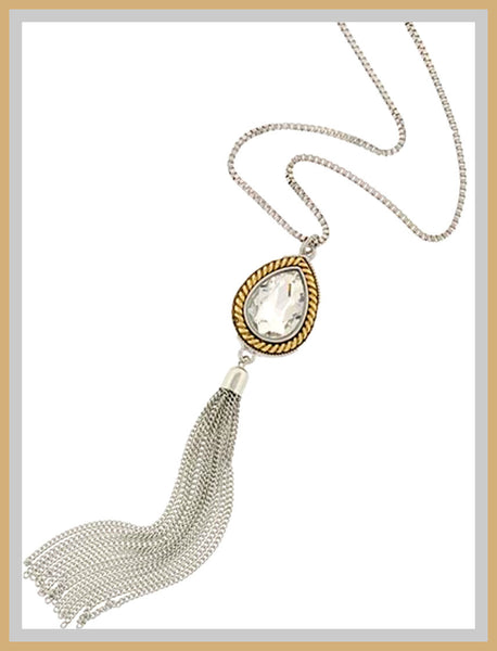 Silver & Gold Glass Pendant Tassel Necklace