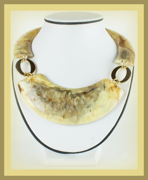 Gold/Brown Acrylic Marble Necklace & Earring Set