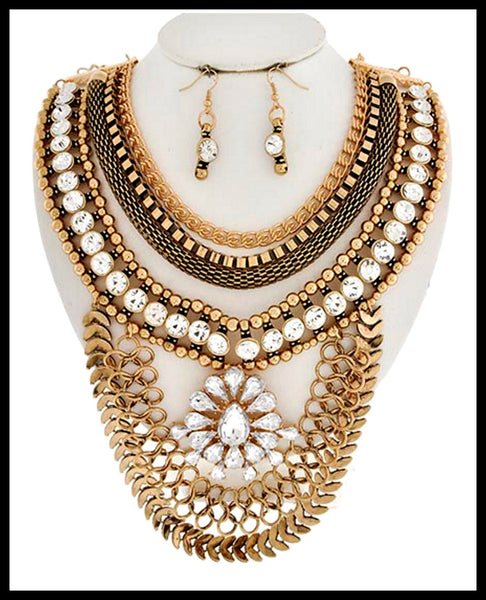 Gold & Glass Statement Necklace