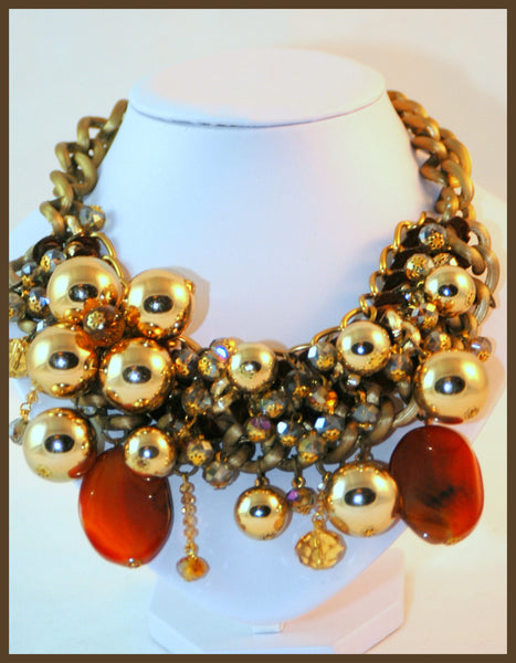 Gold & Amber Stone Necklace