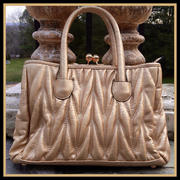 Metallic Gold Quilted Handbag