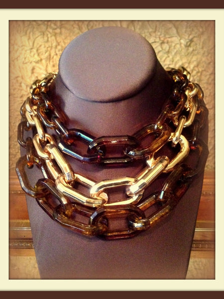 Tortoise & Gold Chain Link Necklace