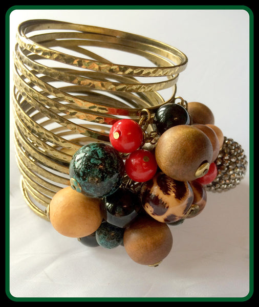 Gold Bracelet with Hanging Beads