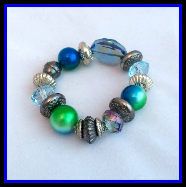 Blue & Green Beaded Bracelet