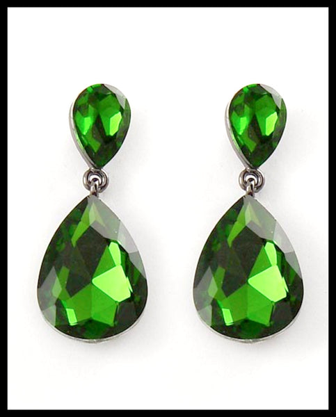 Green Glass Dangle Earrings