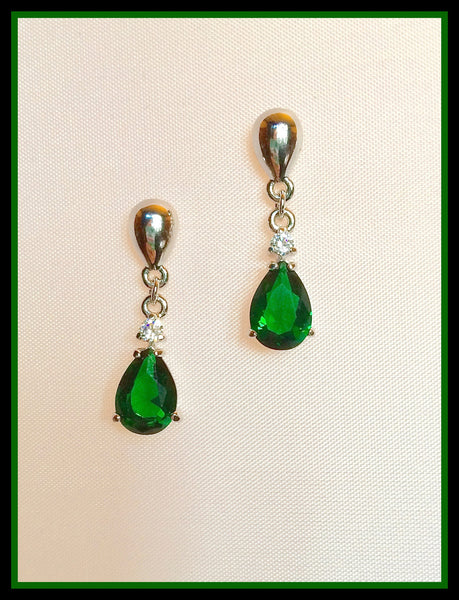 Cubic Zirconia Emerald Green Teardrop Earrings