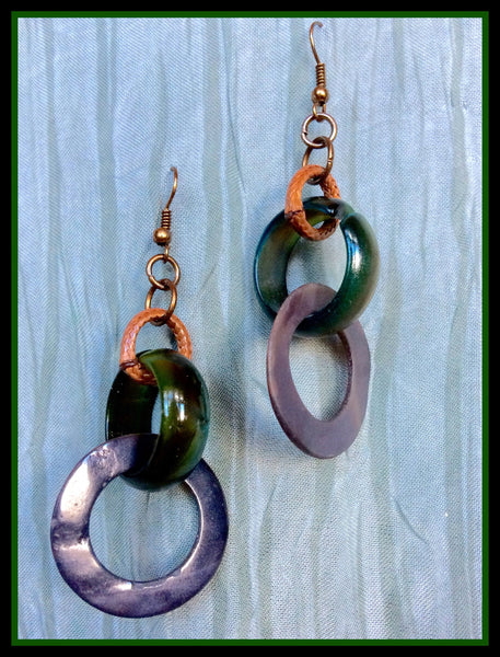 Triple Hoop, Gold/Green/Brown Bone Earrings