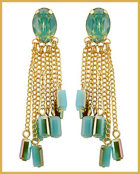 Mint Opal & Blue Glass Chandelier Earrings