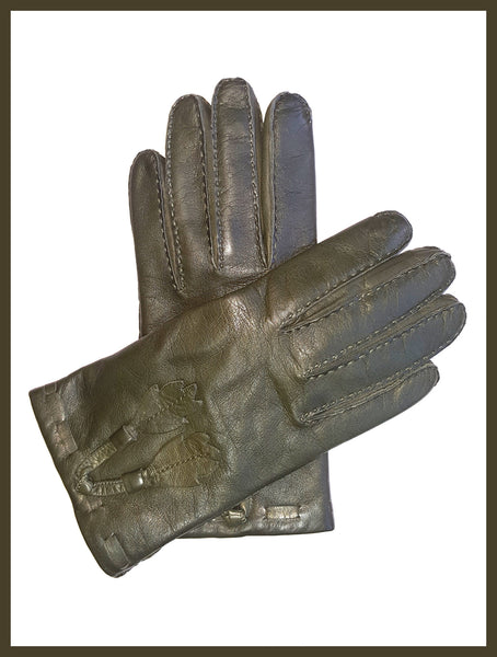 Genuine Moss Green Leather Gloves w/ Leaves