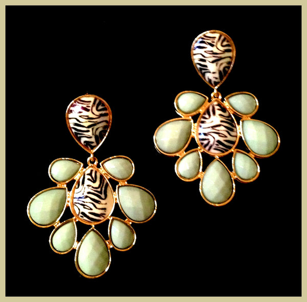 Pale Green & Zebra Earrings