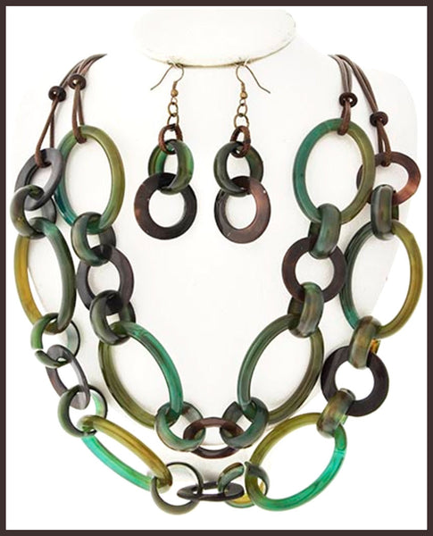Green & Brown Acrylic/Shell/Cord Necklace