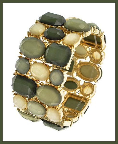 Green & Beige Stretch Bracelet