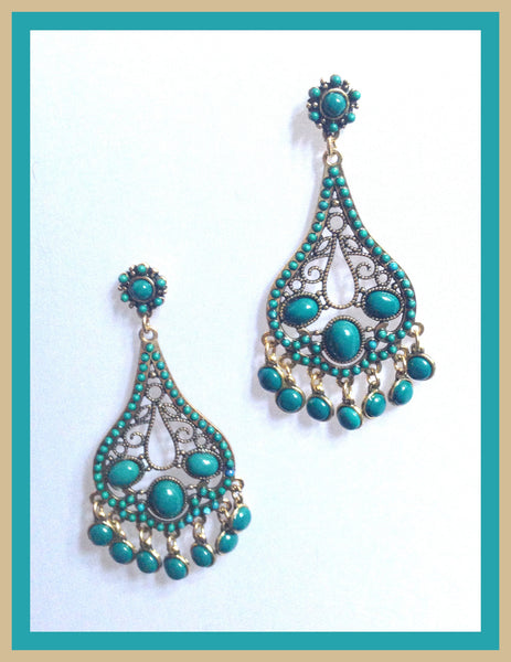 Teal Chandelier Earrings