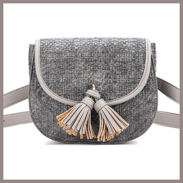 Gray Tassel Saddle Belt Waist Bag