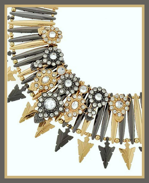 Tri-Tone, Acrylic & Rhinestone Spike Statement Necklace & Earrings