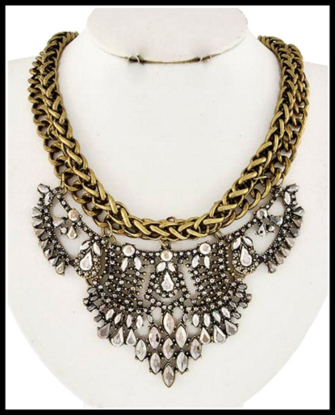 Burnished Gold & Metallic Grey Necklace