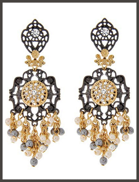 Grey & Cream Pearl Chandelier Earrings