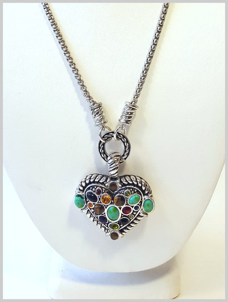 Multi-Colored, Stone Heart Necklace