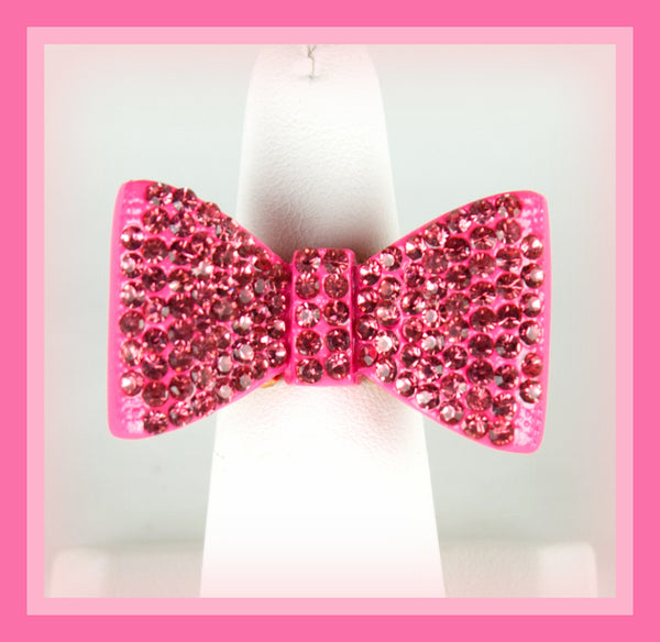 Pink Rhinestone Bow Ring
