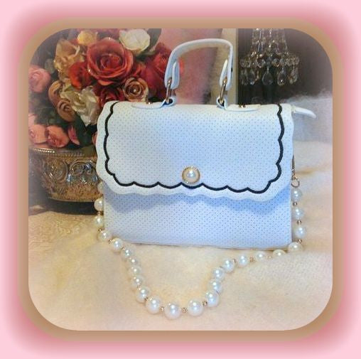 White Satchel with Pearls