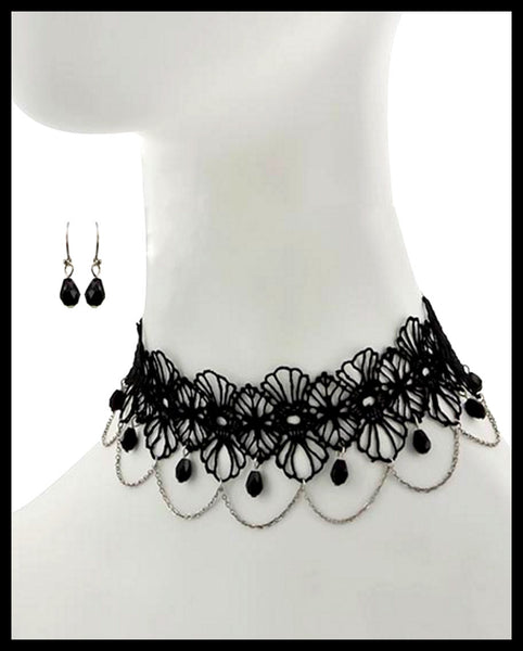 Rhodiumized, Black Glass & Mesh Necklace & Earring Set