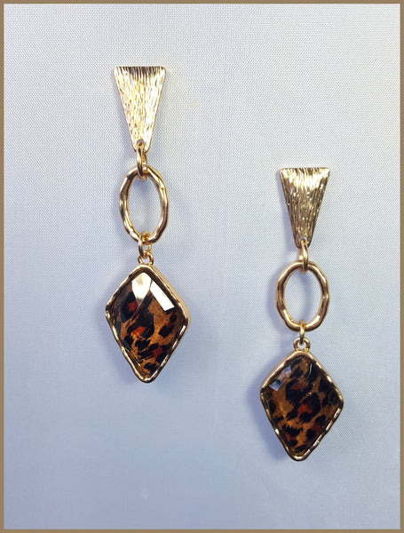 Geometric Brushed Gold Leopard Earrings