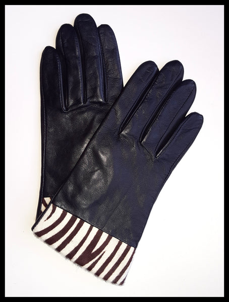 Black & Zebra Print Calf-Skin Gloves