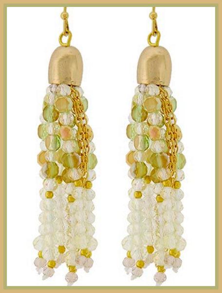 Gold Olivine Crystal Tassel Earrings