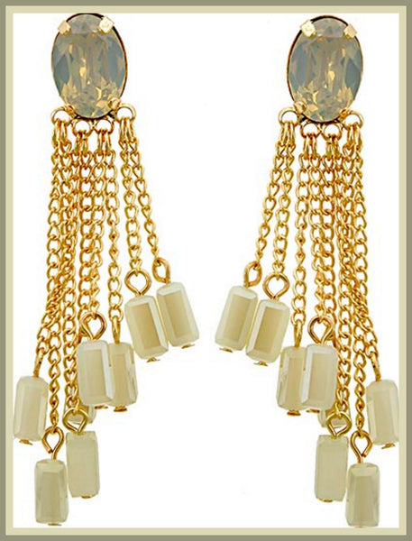 Ivory Opal & Glass Tassel Earrings