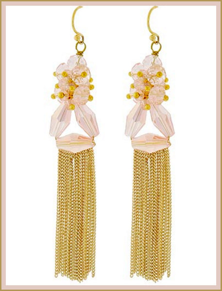 Gold & Pink Crystal Tassel Earrings