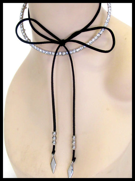 Crystal Choker & Suede Bow Necklace