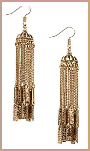 Gold Chandelier Fringe Earrings